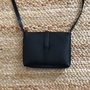 JCrew black leather crossbody bag